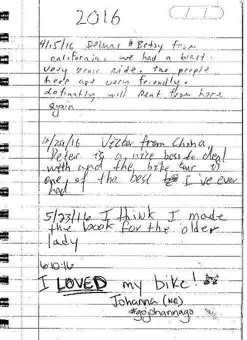 Testimonials for Downtown Bicycle Rentals 2016 Spring testimonials