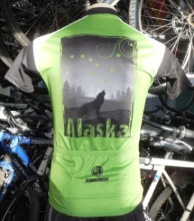 Alaska bicycle jersey with wolf howling at moon.